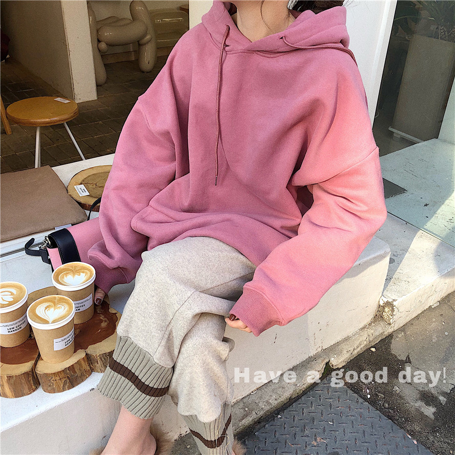 2019 Autumn and Winter Thickening Plus Velvet Hooded Loose Long Sleeve Sweatshirt Hoodie
