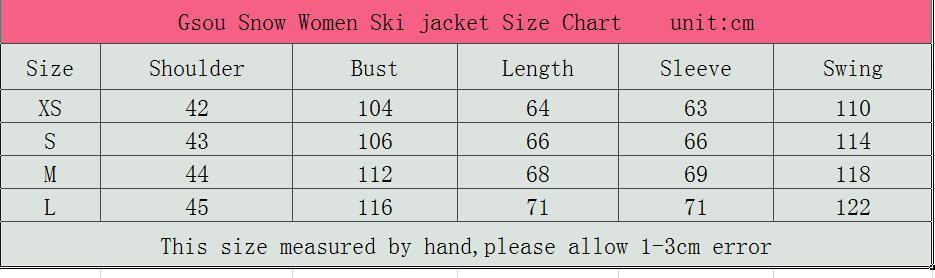 Women Jacket Size Chart