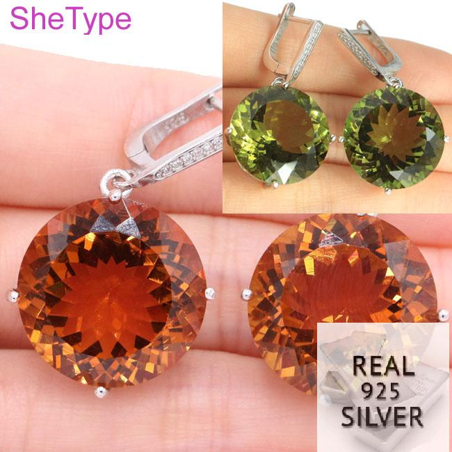 16.7g Big Gemstone Round 20x20mm Top AAA+ Color Changing Spinel CZ Real 925 Solid Sterling Silver Earrings 37x22mm