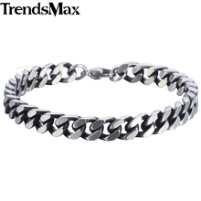Buy Trendsmax Curb Link Bracelet Chain Mens Boys Stainless Steel Cut Cuban Wristband Bangle Silver Tone 8/10/12mm KKBM148 for $4.57 in AliExpress store