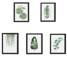 New Fashion Watercolor Tropical Plant leaves Canvas Art Print Poster Nordic Green Plant leaf rural Wall Pictures for Home Decor