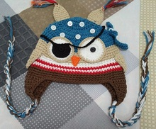 Free shipping Crochet Pattern for Children's cartoon Pirates owls and eye patch Hat Cap Newborns Photography prop 100% cotton(China)