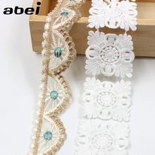 2yards/lot White water soluble Lace Trims Embroidered mesh lace ribbon diy appliques handmade sewing craft special lace supplier(China)