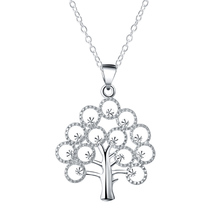 Unique Tree Of Life Tree Christmas Pendant Necklaces Silver Color Chains Necklaces For Women Gifts(China)