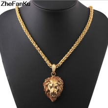 Hip Hop Lion Head Pendant Necklace For Men Luxury Alloy Male Jewelry Friendship Gift(China)