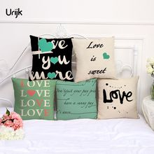 Urijk 1PC Love Pillowcase Christmas Decorative Home Decor Cushion Cover for Sofa Bay Window Bedroom Linen Letter Pillow Covers(China)