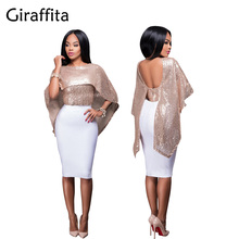 Fashion Women Sexy Off Shoulder Sequin Glitter Blouses Bling Shawl Cloak Christmas Birthday Party Tops Streetwear Casual Shirts(China)