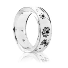 Fashion Handmade Dandelion Epoxy Resin Ring Scenery Inside Black and White Women Jewelry