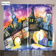 Insulated Curtains Living Room Bedroom Funky Watercolor Paint Town Angle Night Light Reflection Mist 2 Panels Set 145*265 sm