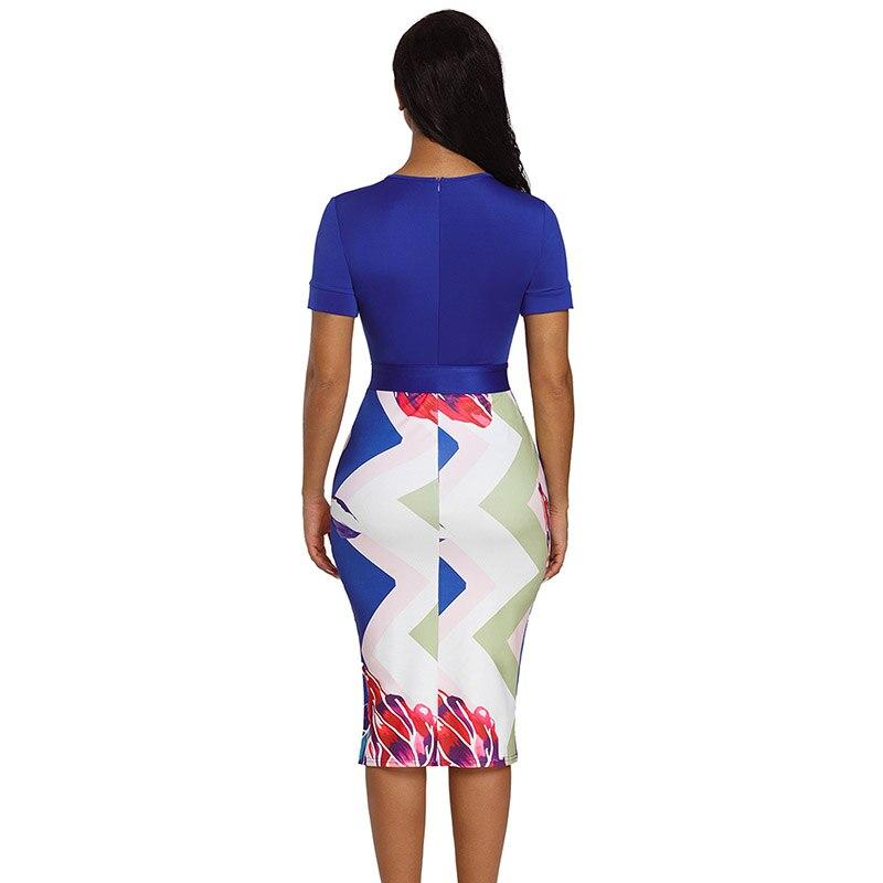 Blue-Bowknot-Short-Sleeve-Printed-Sheath-Dress-LC610096-5-2