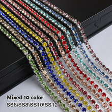 Free shipping Rhinestone Chain Silver claw 10 Color each 1 yard Mix Pack Sew on Cup chain for clothing ornament accessories(China)