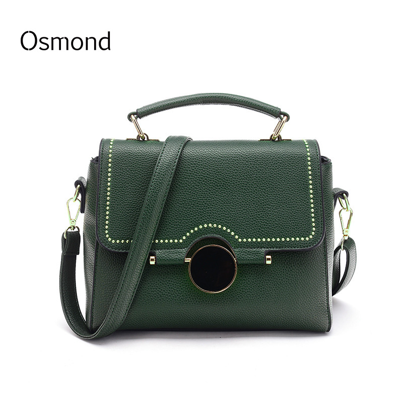 Osmond 2017 Vintage Rivet Bag Women Handbags Brands Crossbody Fringe Purses Quality Leather Messenger Bags Green Flap Party Girl(China (Mainland))