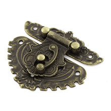 UXCELL 70Mmx55mm Vintage Style Flower Shape Jewelry Box Latch Hasp Lock Buckle Clasp