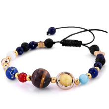 Women & Men Gift Solar System Eight Planets Of The Universe Galaxy Guardian Star Natural Stone Beads Bracelet Bangle(China)