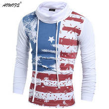 European style men's fashion Turtleneck long sleeve t shirt leisure t-shirts United States flag printing(China)