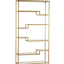 Sterling Home Office Indoor Decorative Gold And Mirrored Shelving Unit - Gold - Mirror()