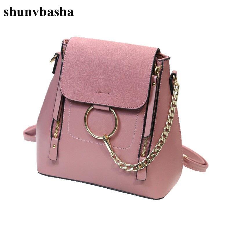 Luxury Brand Leather Backpacks Women School Bags For Teenage Girls Fashion Chain Designer Mochila Escolar Female Shoulder Bags<br>