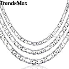 Trendsmax 6/7/9MM Mens Boys Chain Flat Figaro Silver Tone Stainless Steel Necklace wholesale CUSTOMIZE 18-36INCH KN218-KN220(Hong Kong)
