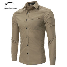 New Men Cargo Military Tactical Style Shirts Autumn long sleeves Khaki Army green Shirt Male Casual Slim Clothes plus size 4XL(China)