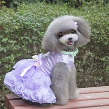 2 Colors Pet Dogs Lace Princess Dress Tutu Puppy Clothes Party Favor Outfits Rose Flower Bowknot Decorated Jacket Dresses(China)