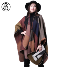 FS Fashion Winter Plaid Scarf Cashmere Warm Vintage Sjaal Blanket Poncho Women Long Thick Cape Lady Shawl Luxury Brand Scarves(China)