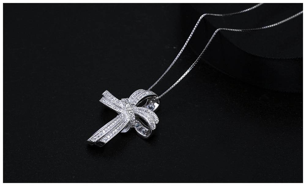 Cross Bowknot necklace SZ12599 (5)