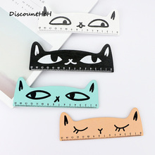 Fresh Candy Color Cute Cat Wooden Ruler Measuring Straight Ruler Tool Promotional Gift Stationery School Supplies(China)