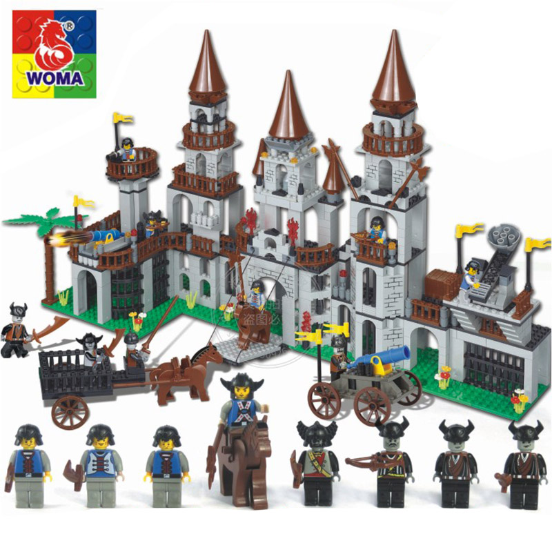 WOMA Pirates Educational Building Blocks Toys For Children Kids Gifts Castle Horse Gun Compatible with Legoe<br>