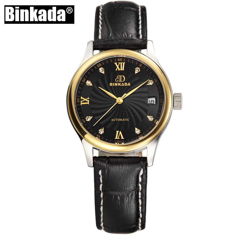 Original BINKADA Women Automatic Mechanical Watch Self-wind Sapphire Watch Ladies Fashion Business Female Waterproof Watch <br>
