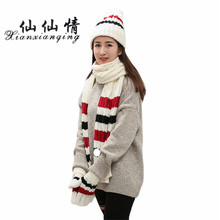 XIANXIANQING 2017 Winter Striped Women Hats Glove Scarf Suit Sweet Christmas Cap Girls Glove Scarves Caps Ladies Gloves AL219(China)