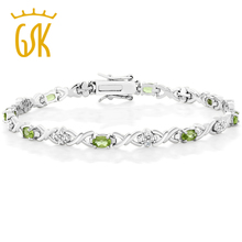 GemStoneKing 4.00 Ct Natural Peridot with Diamond Accent Bracelet 925 Sterling Silver Tennis Bracelets for Woman(China)