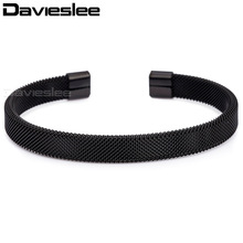 Davieslee Womens Mens Bracelet Mesh Cuff Bangle Black Gold Silver Pink Stainless Steel Wholesale Fashion Jewelry 8mm KGM03(China)