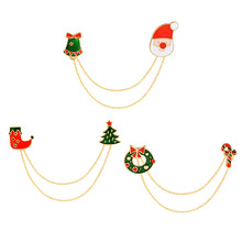 Santa Claus Christmas Tree Brooches Pin Tassel Chain T-shirt Collar Decoration Christmas Jewelry Gift Chain Brooch
