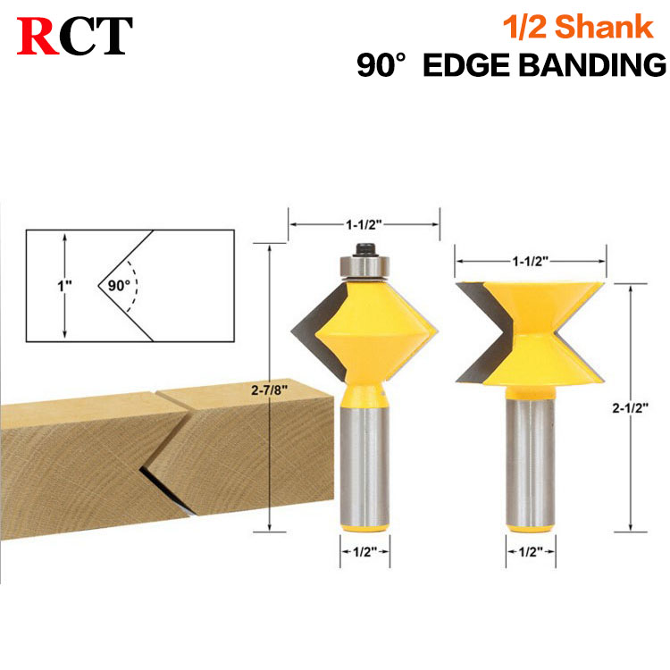2Pc 1/2 Shank 90 Degree Edge Banding Router Bit Set V-Design Tongue &amp; Groove plate splicing knife woodworking cutter<br>