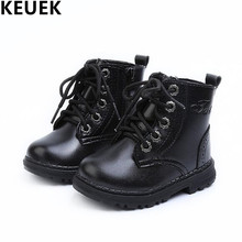Spring/Autumn Fashion Boys Girls Ankle Boots Children Shoes Baby Toddler Leather Boots Kids Anti-skid Single boots 04(China)