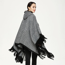 2017 New Fashion Scarf Shawls Hooded Hat Tassel Poncho Sweater Women Knitted Coat Open Stitch Sweaters Ponchos and Capes(China)