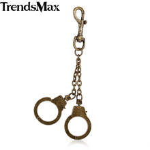 Trendsmax Valentines Gift Mens Silver Bronze Color Handcuffs Charm Mixed Metal Wholesale Fashion Key Chain Ring Keyring KCM08