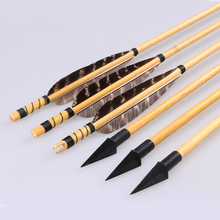 6pcs OD 8mm 31.5inch Archery Wood Grained Arrows Sharp Broadheads Turkey Feather For Hunting Bow Longbow Recurve Bow(China)