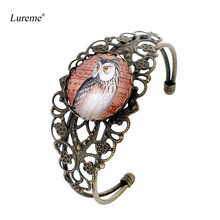 Lureme Vintage Bronze Glass Time Gem Series Hallow Flower Open Bangle Bracelet for Women (bl003419)(China)