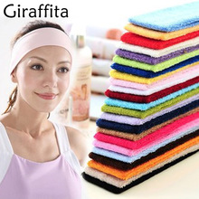 Fashion Women New Candy Color Unisex Stretch Headband Towel Fabric Exercise Sweat Hair Bands Headband Turban Head Wrap Headwear(China)