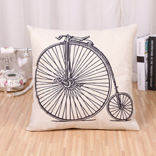 1Pcs Bicycle Bike Pattern Cotton Linen Throw Pillow Case Cushion Cover Home Decoration Sofa Bed Decor Decorative Pillowcase