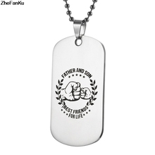 Fashion Stainless Steel Pendant My Son Tag father son Necklace Nameplated Necklace Dog Tag Best friends for life(China)
