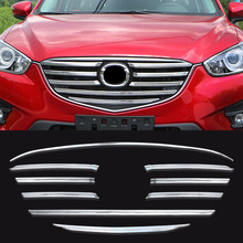 FIT FOR 2015 2016 MAZDA CX-5 CX5 CHROME FRONT MESH GRILLE GRILL BUMPER COVER TRIM INSERT BONNET GARNISH MOLDING GUARD PROTECTOR