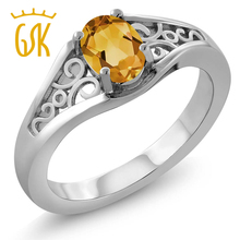 GemStoneKing Citrine Jewelry 0.60 Ct Oval Natural Yellow Citrine 925 Sterling Silver Vintage Ring For Women