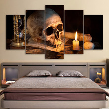 Printed 5 Panels Canvas Candle And Skull Landscape Poster Home Decor Artwork For Living Room Canvas Painting Picture Wall Art(China)