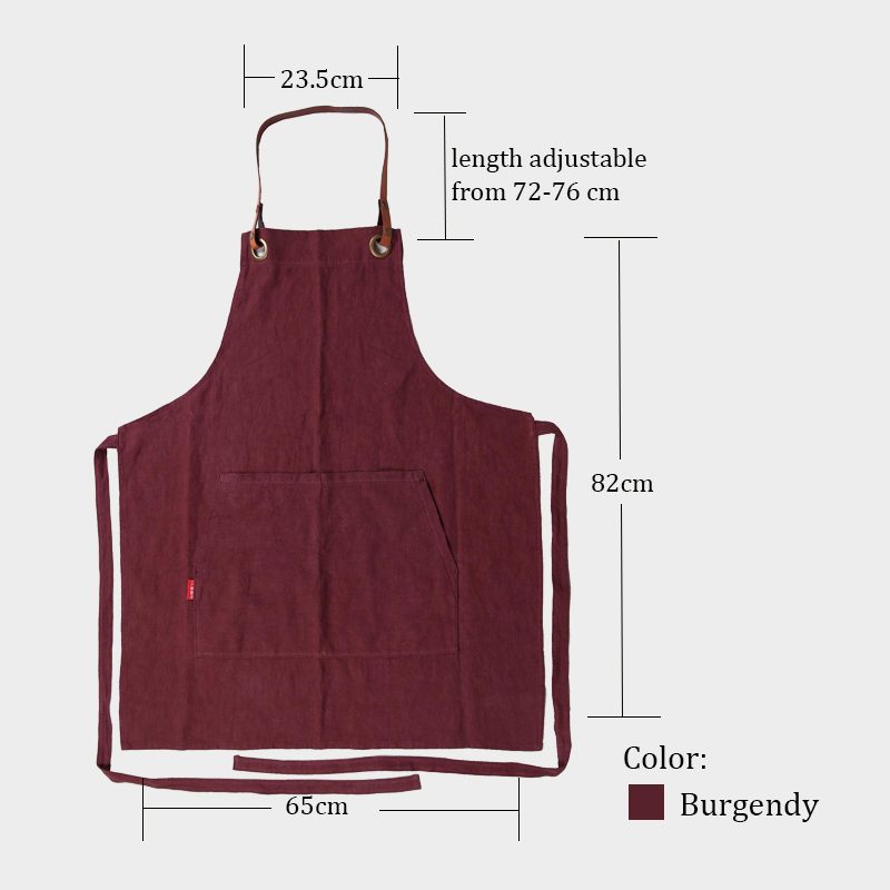 WEEYI Kitchen Cooking Red Linen Apron for Woman and Man with Leather Strap as Gift Size up to XXL Chef Bakers Painters Tablier (1)
