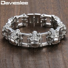Davieslee Skull Biker Men's Bracelet for Men Motorcycle Link 316L Stainless Steel Bracelet DLHBM62(China)