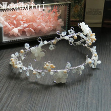 Woodqiqi Gorgeous Crystal Flower hair jewely metal Tiaras hairdress Bridal hair decoration Wedding head piece Romantic Wedding(China)