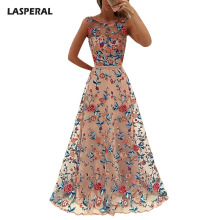 Buy LASPERAL Elegant Ladies Long Dress Floral Embroidered Sleeveless Mesh Banquet Party Dress Exquisite Women Vestidos High for $23.91 in AliExpress store