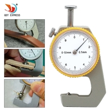 QSTEXPRESS 0-10mm Tip Head Compact Pocket Accuracy 0.1mm Round Dial Thickness Gauge Gage Measurement Tool With Case